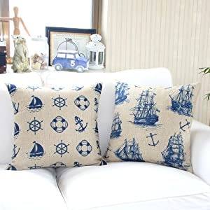 "Yamimi Mediterranean sailor Linen Cloth Pillow Cover Cushion Case 18"",Q478 by Yamimi"