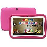 Haehne 7 Pulgadas Niños Google WiFi Tablet, Android 4.4.4 Quad Core 1.3GHz Dual-Cámaras 512M DDR3 8GB, Retroiluminación LED Pantalla Capacitiva Táctil 1024 * 600 Píxeles G-Sensor, Historieta Linda Mini Kids Tablet PC, Rosa