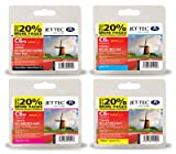 Jettec BCI-6 Cyan / Magenta / Yellow / Black Multipack - 4 Canon Compatible Printer Ink Cartridges for Bubble i865 i9100 i9100d i950 i965 i990 i9950 i9900 Pixma iP4000R MP750 iP5000 iP6000 iP6000D iP8500 MP760 MP780 S800 S900 S9000 S820