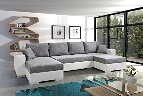 POCUS BIS large faux leather and fabric grey and white corner sofa bed couch with pillows storage sleeping area living room furniture couches