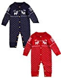 Comhoney Baby Warm Infant Body Suit Rompers Jumpsuit Snow Deer Red