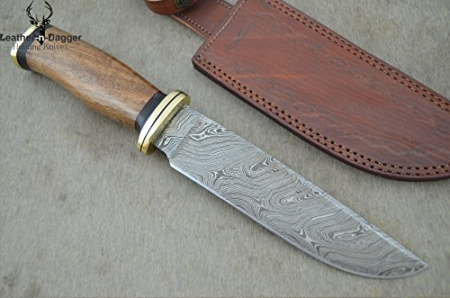 "Christmas Gift By Leather-N-Dagger | Professional High Quality Custom Handmade Damascus Steel 11.50"" Bowie Hunting Knife (100% Satisfaction Guaranteed) Great Gift Ld197"