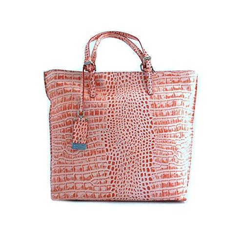 Borsa shopping tote donna Cromia in pelle rosa fucsia fantasia anguria 1402349ANGURIA