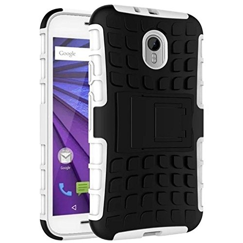 hot sale online 88510 eadf0 ImagineDesignTM Defender Tough Hybrid Armour Shockproof Hard PC + TPU with  Kick Stand Rugged Back Case Cover for Motorola MOTO G3 G 3rd Generation /  ...