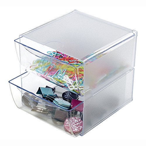 Deflecto Stackable Cube Organizer, 2 Drawers, Clear (350101) (Plastic Stackable Containers compare prices)
