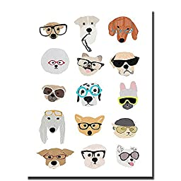 Dogs with Glasses by Hanna Melin Premium Gallery-Wrapped Canvas Giclee Art (Ready-to-Hang)