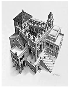 (22x26) M.C. Escher (Ascending and Descending) Art Poster Print