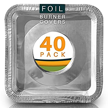 BIack Friday Deal. Best Stove Bib Liners (Pack of 40) Disposable Aluminum Foil Burner Covers for Gas Top. Gas Stove Drip Pans 8.5 x 8.5 x .5 Square.
