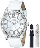 GUESS Women's U0351L1 Wardobe Watch Set with Three Interchangeable Genuine Leather Straps in White, Silver & Blue