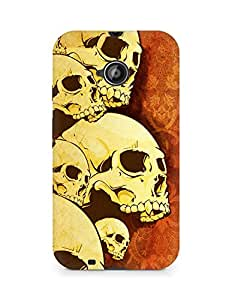 Amez designer printed 3d premium high quality back case cover for Motorola Moto E2 (Skulls Pattern)