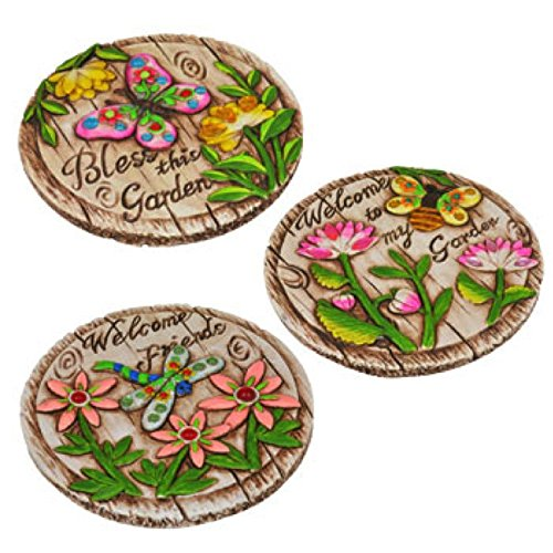 Garden Themed Cement Stepping Stones with Sayings (3 Pcs Set)