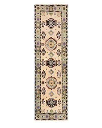 Hand-Knotted Royal Kazak Wool Rug, Ivory/Light Gray, 2' 9 x 9' 9 Runner