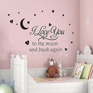 Mural adhesivo en vinilo - Modelo 'I love you to the moon', diseño de see Decals por Newsee Decals - BebeHogar.com