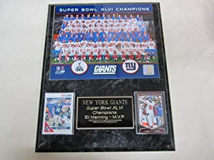 New York Giants Super Bowl XLVI Champions 2 Card Collector Plaque w Team Photo LIVE... by J & C Baseball Clubhouse