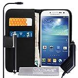 Coque Samsung Galaxy S4 Etui Noir PU Cuir Portefeuille Housse Avec Stylet Et Chargeur De Voiture
