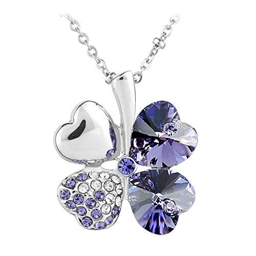 Le Premium® - Collana con ciondolo Swarovski Crystal Elements, tanzanite, placcato in oro bianco, colore: tanzanite viola