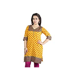 Rama Designer Cotton Dark Yellow Casual 3/4 Sleeve Printed Women's Kurti (14RAMA1421071)
