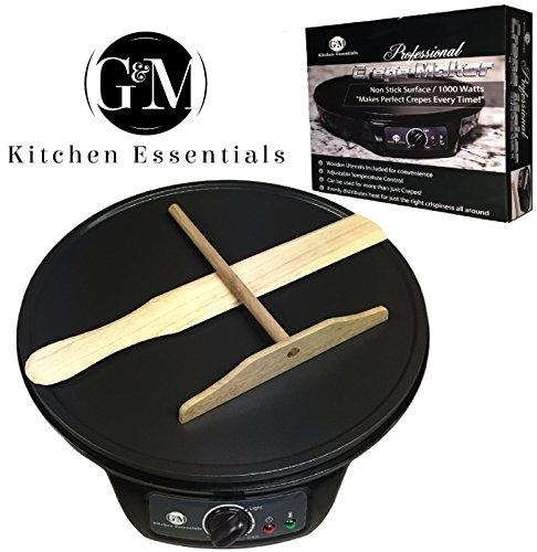 Buy Discount Professional Crepe Maker Machine by G&M Kitchen Essentials – Non-Stick 12″ Electric Pancake Griddle -Adjustable Temperature Dial – BONUS Batter Spreader & Wooden Spatula