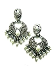 Ethnic Fashion Earrings With Pearl And Coloured Crystals In Silver Finish, Pearl - B00NZBOZAM