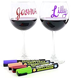 ★Glass Markers Premium Quality - 10 Bright Neon Colors. ☠Best Used for Christmas Party Decorations. Used With or As Alternative to Wine Glass Charms. Use Coupon to Save $$$ and Go Get These Liquid Chalk Markers NOW