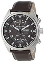 Seiko Men's SNN241 Stainless Steel and Leather Brown Dial Watch from Seiko