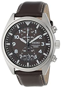 Seiko Men's SNN241 Stainless Steel and Leather Brown Dial Watch