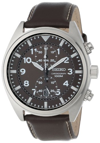 Seiko Mens SNN241 Chronograph Brown Dial Watch