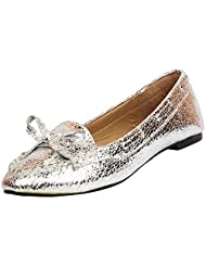 Darcey Women's Silver & Black Synthetic Leather Bellies - B013IVWGJ0