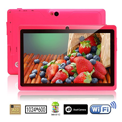 iRulu 7 inch Android Tablet PC, 1024*600 HD Camouflage with 5 Point Capactive Touch, 4.2 Jelly Bean OS, Dual Core, Allwinner A23 CPU, Dual Cameras(0.3/2MP), 8GB Storage (pink)
