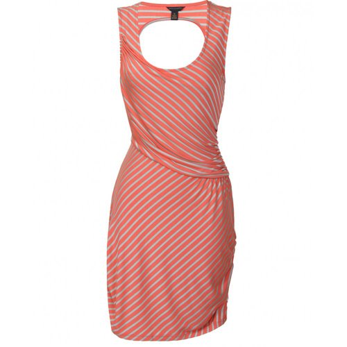 House of Dereon Striped Coral Cut out back dress
