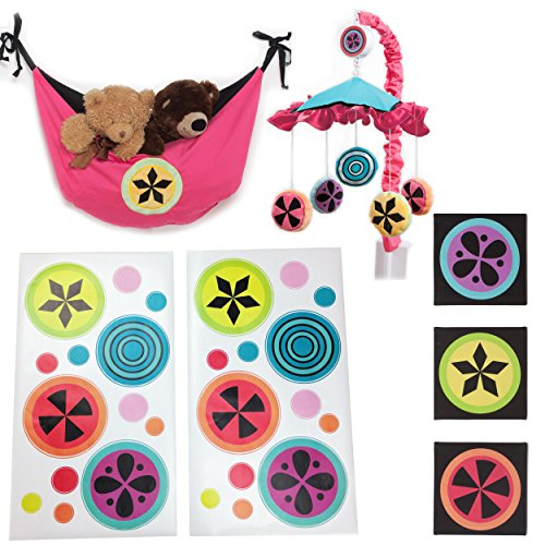 One Grace Place Magical Michayla Infant Accessory Set, Black, Pink and Turquoise