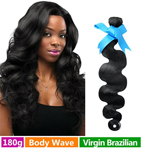 Rechoo Mixed Length Brazilian Virgin Remy Human Hair Extension Weave 3 Bundles 180g - Natural Black,16