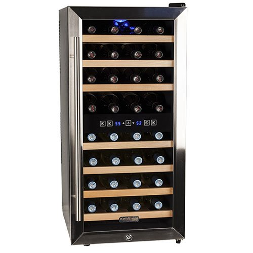 Koldfront 32 Bottle Free Standing Dual Zone Wine Cooler -...