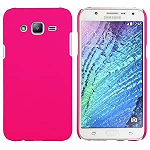 Chevron Rubberized Matte Hard Back Cover Case for Samsung Galaxy J2 (Deep Pink)