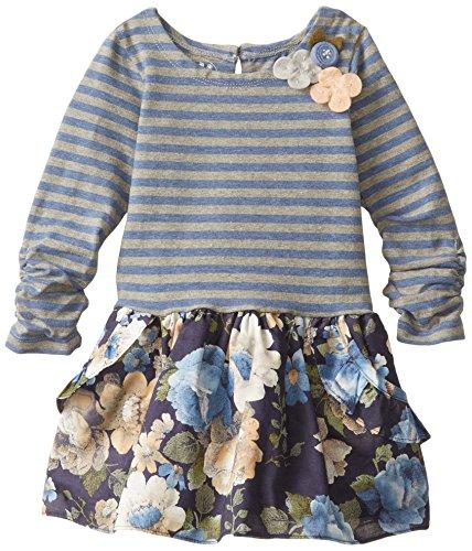 Pippa & Julie Little Girls' Pippa & Julie Stripes And Floral Dress, Blue, 4T