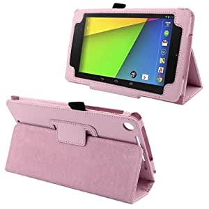 Litchi Texture Leather Case with Holder for Google Nexus 7 (2013 Version), Pink