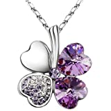 Lingstar(TM) Swarovski Elements Crystal Four Leaf Clover Pendant Lucky Necklace in Lilac Purple