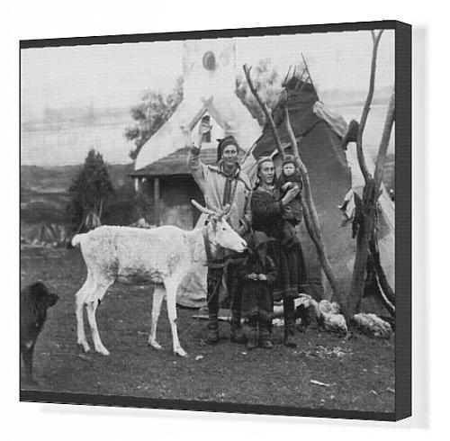 Canvas Print Of Laplanders And Reindeer front-977622