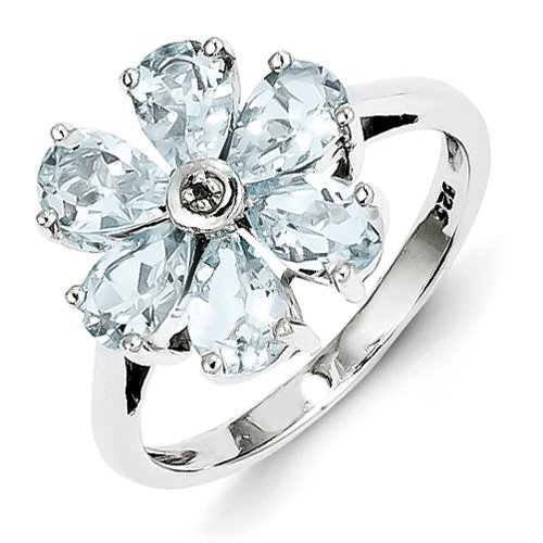 Flower Ring - Diamond & Aquamarine Set In Sterling Silver - Nice - Pear Shape