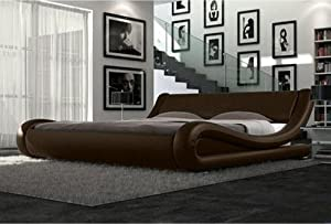 Modern Italian Designer Double Bed Upholstered in Faux Leather, Available in 4 Sizes and 6 Different Colours (Brown, King)