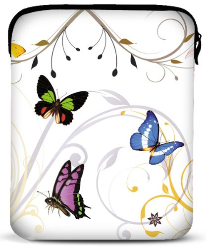 8 - 10 inch Butterflies White Fleur Floral Netbook