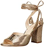 Nine West Womens Bellermo Metallic Heeled Sandal, Light Gold, 8.5 M US