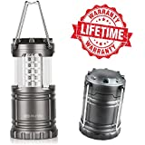 Blitzu® #1 Best Ultra Bright LED Lantern - Optimus G100 Camping Lantern - Collapsible - Suitable for Hiking, Camping, Emergencies, Hurricanes, Outages. 30 LEDs - Water Resistant - Platinum Gray.