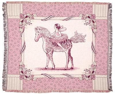 "Girls Pink Fairy Tale Pony Afghan Throw Blanket 50"" X 60"""