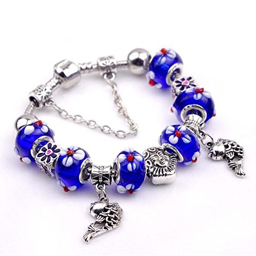 The Starry Night Sapphire Blue Beads Hand Carving Flowers Hollow Silver Little Fishs Pendant Bracelet (Thai Micro Crab compare prices)