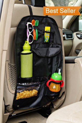 Back Seat Car Organizer - Buy 3 Get Free Shipping! - Best Backseat Auto Organizer For Kids and Baby - Contains Pockets For Toy Storage and is Great For Travel And Pet Supplies - Seat Back Kick Mat Protector - Fits Most Cars, Minivans and SUV's