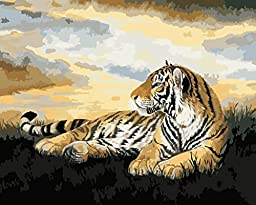 [ New Release ] Diy Oil Painting by Numbers, Paint by Number Kits - Crouching Tiger 16*20 inches - Digital Oil Painting Canvas Wall Art Artwork Landscape Paintings for Home Living Room Office Christmas Decor Decorations Gifts - Diy Paint by Numbers Diy Ca