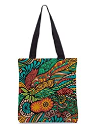 Snoogg Vector Seamless Texture With Abstract Flowers Endless Background Ethnic Sea Designer Poly Canvas Tote Bag - B012FZUEHQ