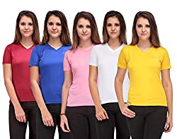 Oleva Women's Polyester T-Shirt (ODC-50L _Multicolor_Large)