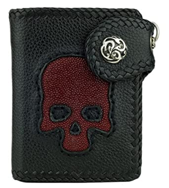 Leather Biker Wallet, Black w/ Burgandy Stingray Leather Skull Inlay, Chain Ready